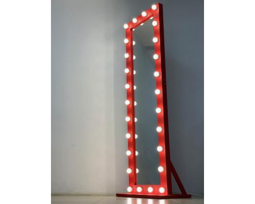 Большое гримерное зеркало с подсветкой лампами 200х60 Красная Лиственница