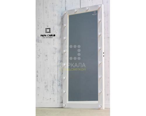 Гримерное зеркало с подсветкой белое 180х80 из массива лиственницы