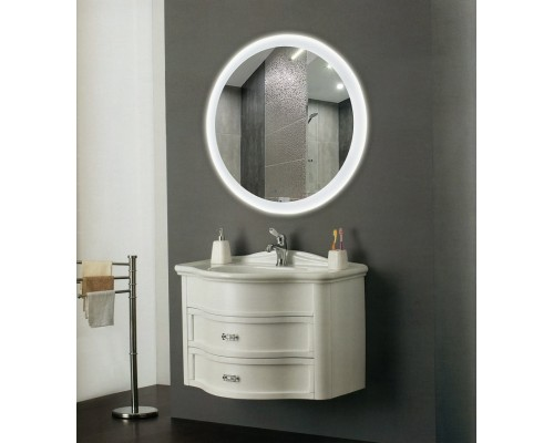 Круглое зеркало с подсветкой в ванной Ренальди